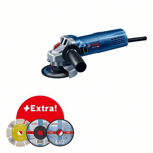 Professional Set: Angle grinder GWS 750-100 + 3 pcs accessory in fisherman box