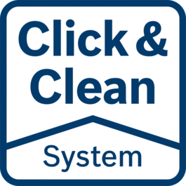 Click & Clean System – 3 great benefits A clear view of the work surface: You work more precisely and faster Harmful dust is extracted immediately: Protects your health Less dust: Longer lifetime of tool and accessories