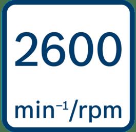 No load speed 2600 min-1/rpm