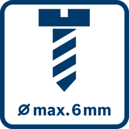 Max. screw diameter 6 mm