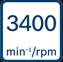 No load speed 3400 min-1/rpm