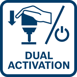 Dual-activation mode – simply push machine/tool forward against the surface or press the 'on' button/switch to begin